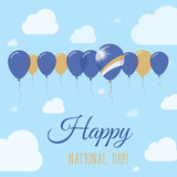 Marshall Islands National Day Flat Patriotic Poster. Row of Balloons in Colors of the Marshallese flag. Happy National Day Card with Flags, Balloons, Clouds and Sky.