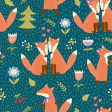 Seamless pattern with cute foxes in the woods. Vector forest texture