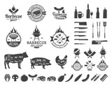 Set of vector barbecue logo, labels and icons