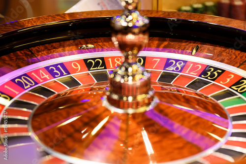 Poster Close up of roulette at the gambling house, selective focus