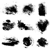 Fototapety Vector set of black inc blots and brush strokes, isolated on the white background. Series of elements for design.