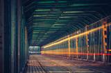 Tram light trails on Gdanski bridge in Warsaw, Poland