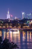 Night view of Warsaw waterfront and downtown skyline