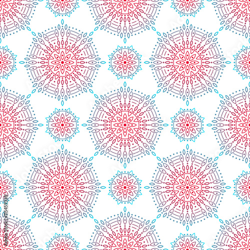 Ornamental Seamless Pattern. Repetitive Abstract Symmetry Texture. Vector Eastern Ornament Background with Vintage Decorative Mandala Islam, Arabic, Indian Motifs - 115459338