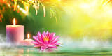 Fototapety Spa - Serenity And Meditation With Candles And Waterlily In Zen Garden