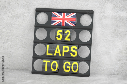 Tuinposter F1 Silverstone racing, pit board with flag of UK, 3D rendering