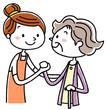 介護風景:女性スタッフとシニア女性