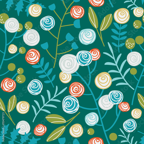 Seamless pattern made of flowers and leaves
