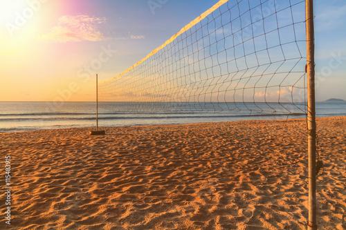 Fototapeta Volleyball net on the beach on summer.