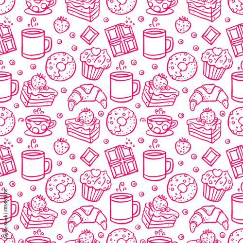 Cotton fabric cute seamless coffee and desserts icons