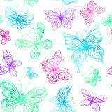 Seamless pattern of watercolor butterflies.
