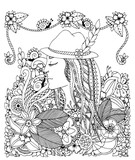 Vector illustration Zen Tangle girl in hat and flowers. Doodle drawing. Coloring anti stress for adults. Black  white.