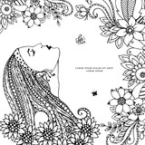 Vector illustration Zen Tangle girl with flowers. Doodle drawing. Coloring book anti stress for adults. Black white.