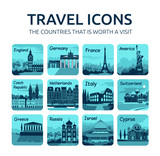 Set of flat travel icons with different countries.