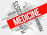 MEDICINE word cloud collage, health concept background