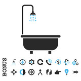 Shower Bath vector bicolor icon. Image style is a flat pictogram symbol, blue and gray colors, white background.
