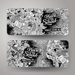 Cartoon vector doodles school banners