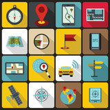 Navigation icons set in flat ctyle. Location on terrain set collection vector illustration