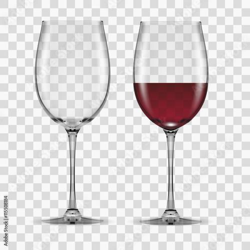 Fototapeta big reds wine glass empty and none