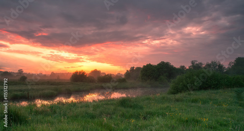 Foto op Canvas Cappuccino Foggy morning landscape