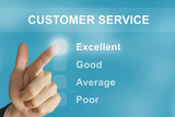 business hand pushing customer service button