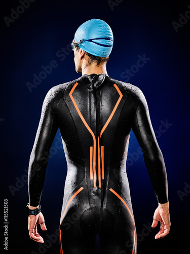 Poster man swimmer swimming  triathlon ironman isolated