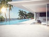 Fototapety Luxury swimming pool and blue water. 3d rendering