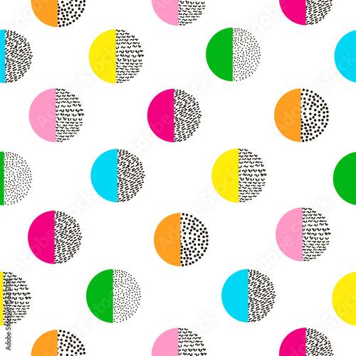 Fototapeta Circles colorful seamless pattern. Bright background. 80's - 90'