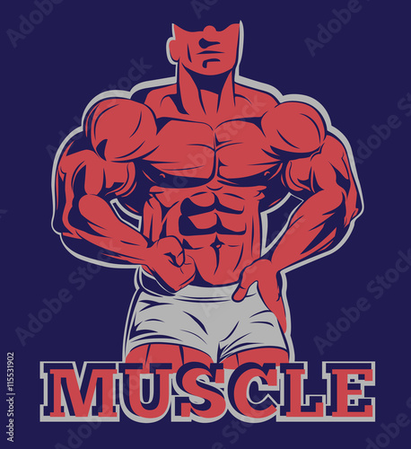 obraz PCV bodybuilder logo muscle man posing emblem