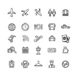 Fototapety Airport Outline Icon Set. Vector
