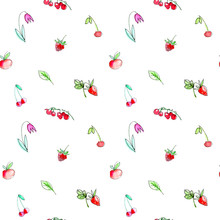 Jednolite wzór z owoców ogrodowych i berries.Cherry, malin, porzeczek, truskawek, jabłek i kwiatów. Akwarele ręcznie rysowane illustration.White tło.