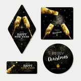 Fototapety Gold christmas and new year greeting card set