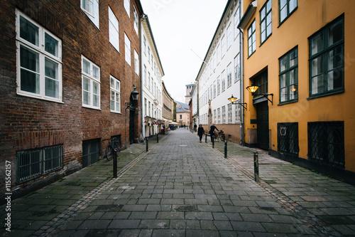 Plakát, Obraz A narrow street, in Copenhagen, Denmark.