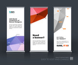 Vector set of modern Roll Up Banner Stand Design with abstract p