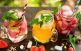 Refreshing drinks in jars