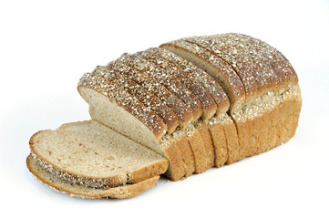 whole grain sliced bread on white background