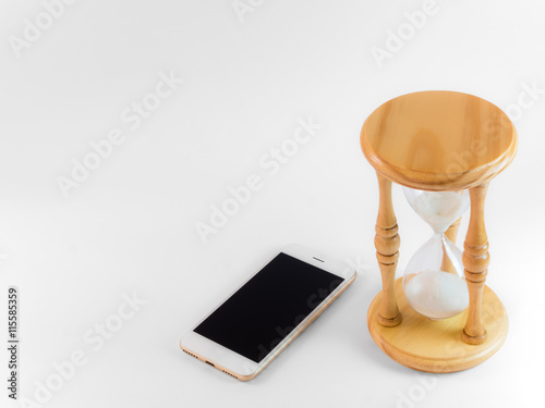 Smart phone and hourglass isolate on white with clipping path and copy space Poster