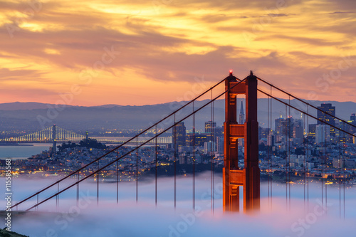 Early morning low fog at Golden Gate Bridge - 115585568