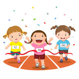 Fototapety Vector illustration of girls on a race track on a white backgrou