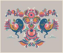 motif floral avec deux oiseaux dans le style Gorodets