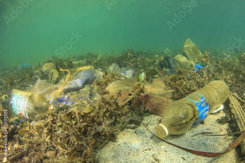 Plastic rubbish bags and bottles pollution of ocean