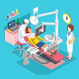 Flat 3d isometric dental center