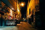 Fototapety Graffiti Alley at night, in the Fashion District of Toronto, Ont