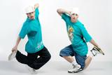 Dancers perform a couple nice trick to break dance