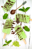 Green tea matcha mint popsicles with chocolate and coconut milk.