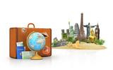 Travel concept. Attractions of the world. Suitcase for travel. G
