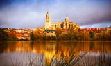 Salamanca Cathedral from  River  in autumn