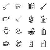 Vector illustration of thin line icons - farming