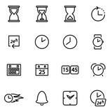 Vector illustration of thin line icons - time