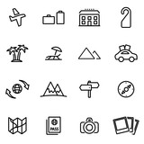 Vector illustration of thin line icons - travel